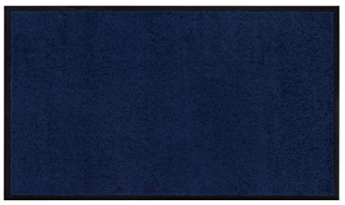 Fußmatte Verdi, einfarbige Schmutzfangmatte in zeitlosem Design mit Gummirücken, robust & rutschfest in verschiedenen Farben und Größen, Farbe:Blau, Größe:90x150cm