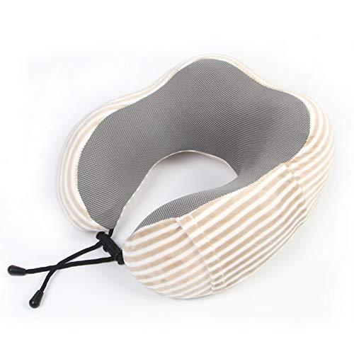 Fornisce il perfetto comfort del collo e della colonna vertebrale del collo guanciale cuscino collo cuscino in cotone a forma di u guanciale auto cuscino strisce marrone chiaro 32x30x12cm