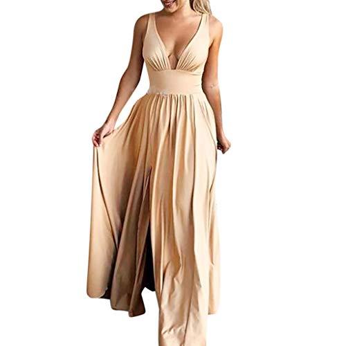 Sommerkleid Damen Elegant Kleider,Mode Frauen Ärmellose V-Ausschnitt Bodenlangen Soild Brautjungfer Abendkleid Von Evansamp(Gelb,L) - Kleid Chiffon Mädchen Bodenlangen