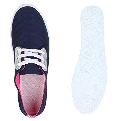 Damen Sneakers Low-Top Metallic Turnschuhe Schuhe Dunkelblau