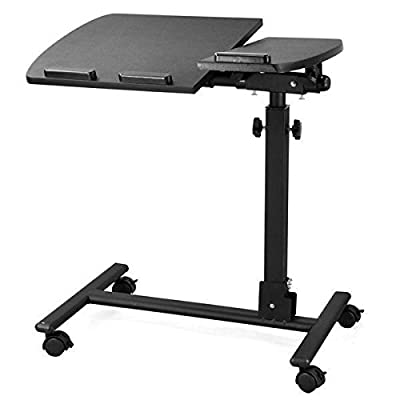 tinkertonk Adjustable Rolling Laptop PC Table Stand Tray Desk with Mouse Board and Castors Over Sofa Bed Hospital Table Stand Black - cheap UK light store.