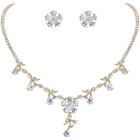 EleQueen Gold-tone delle donne completa Cubic Zirconia Fiore orecchini della collana nuziale Teardrop gioielli insieme chiaro