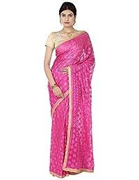 Ethnic Bliss Lifestyles Phulkari Pink Chiffon Saree