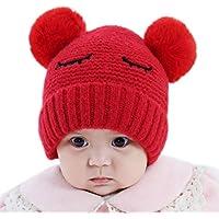 Kentop Sombrero de Punto Lindo de Las Niñas y Niños bebé Gorros con Lindo Ball Pom Pom Size 36-48cm