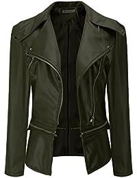 VENMO Frau Winter Parka Mantel Faux-Kragen Kurzer Mantel PU-Leder Jacke  Outwear Lederjacke Damen… 117f650d21
