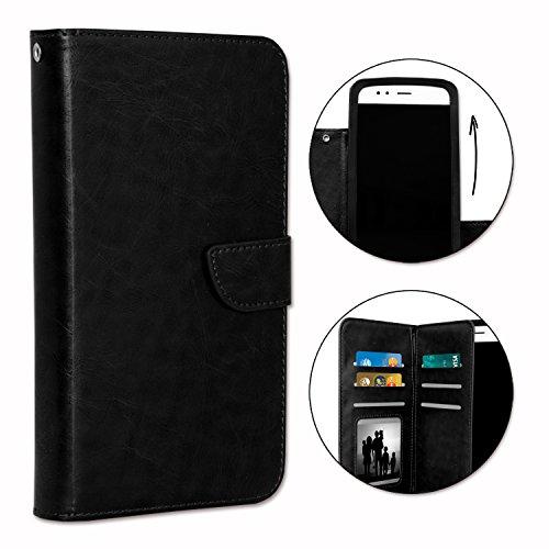 PH26® Etui housse folio pour POLAROID Phantom 5 V2 format portefeuille en éco-cuir noir avec double clapet intérieur porte cartes, fermeture magnétique et surpiqures apparentes