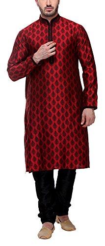 Indian Poshakh Men's Art Silk Kurta Pyjama (936-L, Maroon, Large)