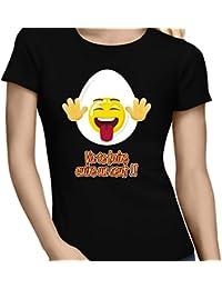 T-Shirt Humoristique - Collection Humour et Fun par okiWoki - Va te faire cuire un oeuf !! - T-shirt Femme Noir - Haute Qualité (877)
