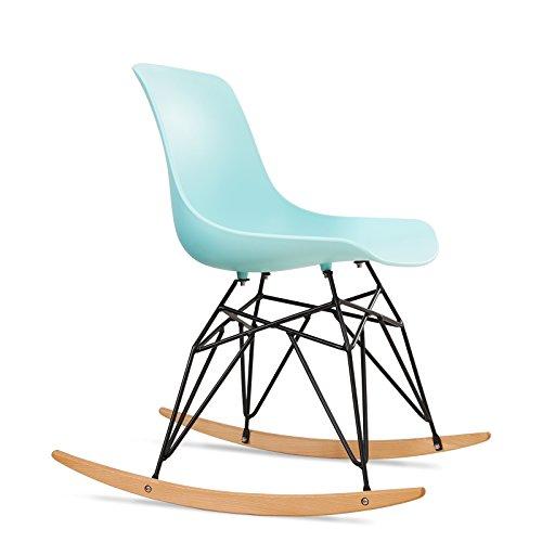 SONGMICS Schaukelstuhl Relaxstuhl, moderner Schaukelsessel Lounge Stuhl mit Metallbeinen und...