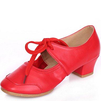 Silence @ Chaussures de danse pour femme Sneakers Cuir Talon bas Rouge/fuchsia/noir/beige fuchsia