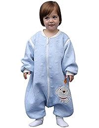Happy Cherry - Mono Saco de dormir para Bebés Niños Niñas con Manga Larga Desmontable Mameluco Pijama Ropa de Dormir Bebés para Otoño Primavera - Azul Gris Rosa Amarillo