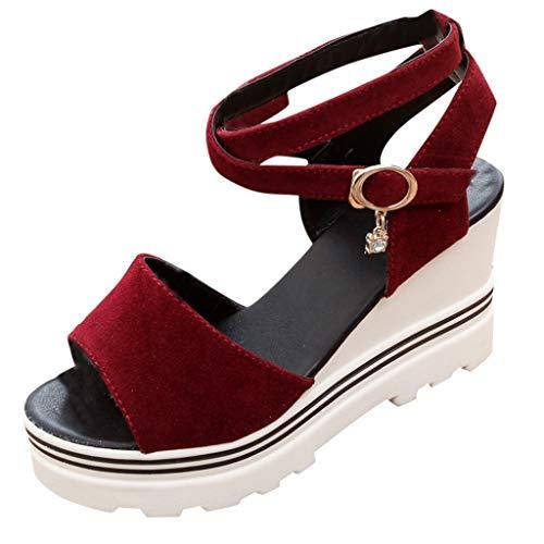 iLPM5 Damen Sommer Casual Einfarbig Pumps Peep Toe Schnalle Keilabsatz Sandalen Roman Beach Plateauschuhe Elegante Party Schuhe(Rot,40) Tan Peep Toe Pumps