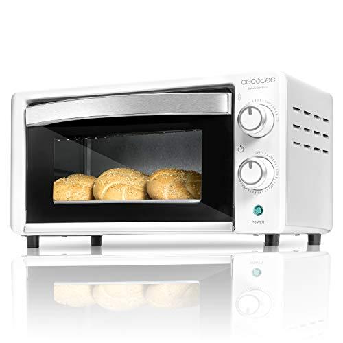 Cecotec Tisch- Umluftofen Bake&Toast - Kapazität von 10 Liter, 1000 W, Temperatur bis 230ºC und Timer bis 60 Minuten, Perfekt für Paninis und Gebäck, Inklusiver Krümelschublade. (Weiss, 490)
