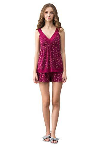 Marster Fashions Damen Baumwolle Nachthemd Sleepshirt Rosen-Rot