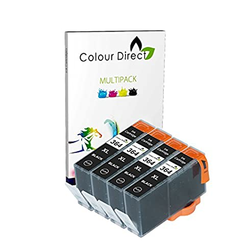 4 X Noir Colour Direct Compatible Cartouches d'encre Remplacement Pour HP 364XL - HP Deskjet 3070A, 3520, Officejet 4610, 4620, 4622, Photosmart 5510, 5510, 5512, 5514, 5515, 5520, 5522, 5524, 5525, 6510, 6520, 6525, 7510, 7520, B010a, B109a, B109c, B109d, B110a, B110c, B110d, B110e, B110f, B8550, B8553, C5380, C5383, C5390, C6300, C6380, CN245b, D5460, D5463, D7560, C510, B209, B209a, B210, B210a, B210b, B210c, B210e, C309, C309h, C309n, C310, C310a, C309a, C309c, C410b imprimeur