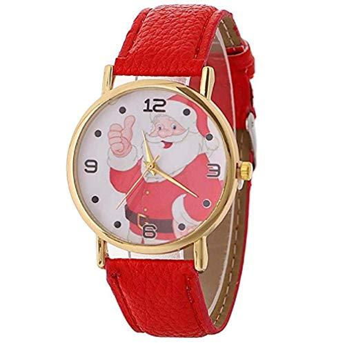 Kaitoly Fashion Watch! Damen Weihnachtsmann Uhren Claus Kreatives Muster Quarzuhr Lederband Gürtel Tischuhr (Schwarz-weihnachtsmänner Verkauf Zum)