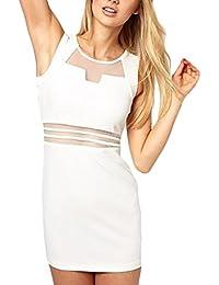 BoBoLily Frauen Etuikleider Minikleid Cocktailkleid Elegant Kurz Ärmellos Rundkragen  Kleid Spleiß Netz-Garn Perspektive Eng Normallacks… 9439f861c0