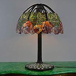Tiffany style Stained Glass Table Lamp 20 pouces victorienne feuille colorée avec lampe Accent base Arbre Vintage Cuivre Tronc d'Éclairage vie