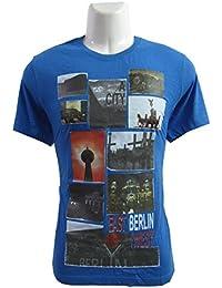 revin blue with multicolour cotton round neck M size tshirt