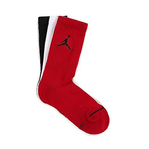 X Crew 3PR Socks, Black/White/Gym Red, M ()