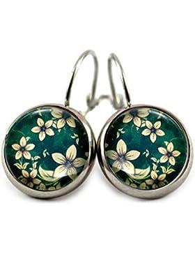 Ohrringe mit Blumen Ranken Motiv Ohrhänger Brisuren / Farbe der Fassung wählbar