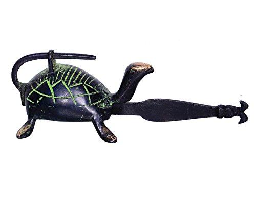 purpledip Messing antik Finish Vorhängeschloss und Schlüssel in einzigartigen Tortoise Design aus Prähistorischer Zeit (10370)