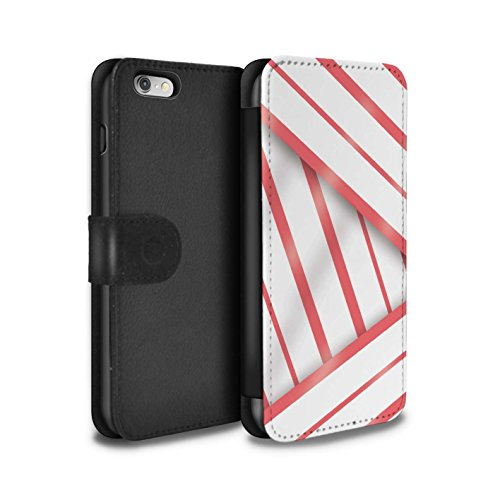 Stuff4 Coque/Etui/Housse Cuir PU Case/Cover pour Apple iPhone 6 / Rouge/Blanc/Bande Design / Mode Bord Mer Collection Corail Robe