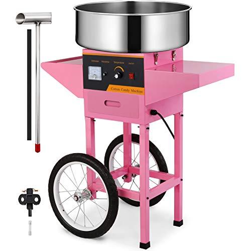 HuSuper 1000W Zuckerwattemaschine Rosa Zuckerwattemaschine für Zuhause Party Elektrische Zuckerwattegerät (Maschine mit Rad)