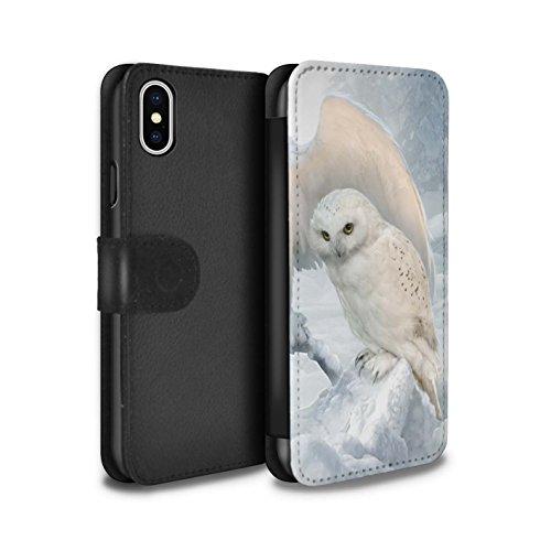 Offiziell Elena Dudina PU-Leder Hülle/Case/Tasche/Cover für Apple iPhone X/10 / Schöne Pfau Muster / Die Vögel Kollektion Winter-Eulen/Arktis