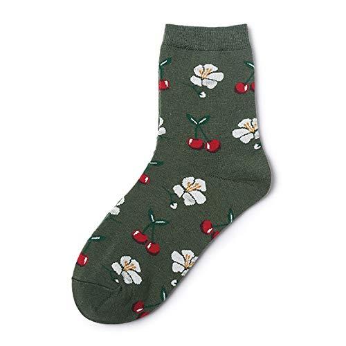 XIAMAZ 10 Paar Unisex Fashion Socken Damen 3D Fruit Happy Socken Apple Cherry Boat Socken Herren Funny Art Cotton Soft Socken -