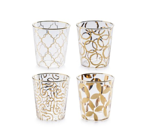 Rosanna 94984 Luxe Moderne Double Old Fashioned Glass, Clear/Gold, Set of 4 by Rosanna 4 Double Old Fashioned Gläser
