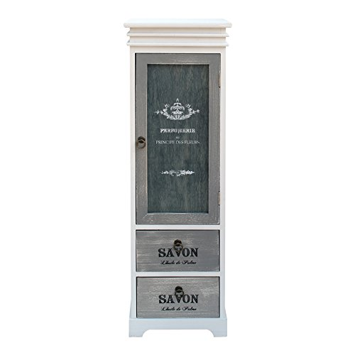 Mobili rebecca vetrinetta armadietto legno 1 anta 2 cassetti design retro bianco grigio soggiorno salotto (cod. re6092)
