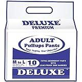 "Deluxe Adult Diapers Pullups Pants Medium 65-100Cms 25""-39"" (10 Pcs)"