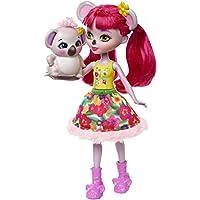 Enchantimals Mini-poupée Karina Koala et Figurine Animale Dab, aux cheveux roses fuchsia avec jupe à motifs en tissu, jouet enfant, FNH24