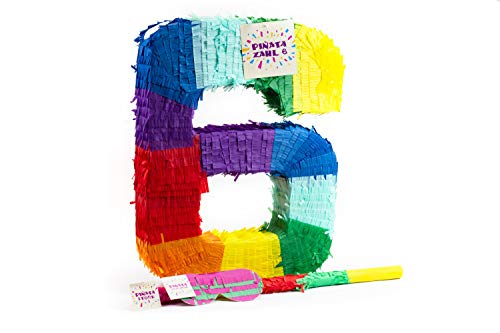 Trendario Zahl 6 Pinata Set, Pinjatta + Stab + Augenmaske, Ideal zum Befüllen mit Süßigkeiten und Geschenken - Piñata für Kindergeburtstag Spiel, Geschenkidee, Party, Hochzeit (Geburtstag Pinata Jungen)