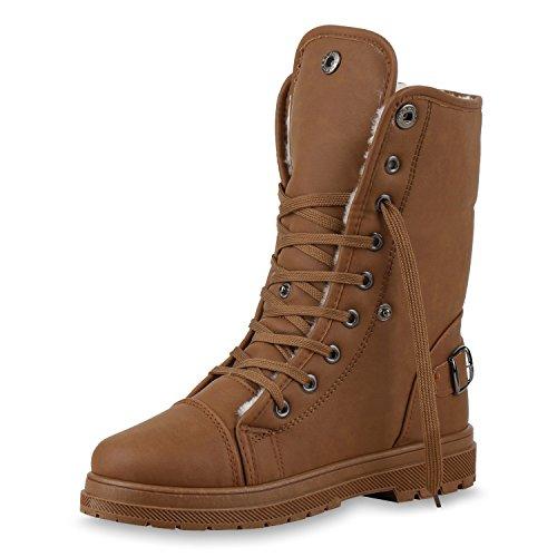 SCARPE VITA Warm Gefütterte Damen Stiefeletten Worker Boots Outdoor Schuhe 150386 Braun Schnallen 38