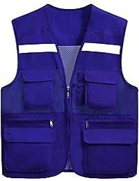 SK Studio Adulto Chaleco de Seguridad de Alta Visibilidad con Bolsillos Búltiples Chaleco Reflectante Fluorescente Uniforme