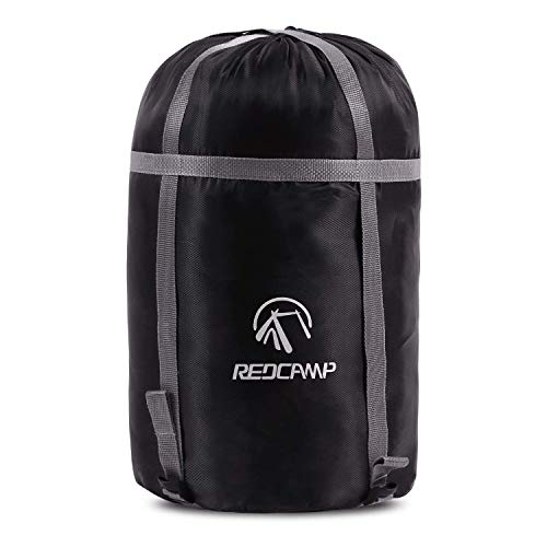 REDCAMP 15L Nylon Packsack für Schlafsack, Wasserdichter Ultraleicht Kompressionssack Aufbewahrung Stuff Sack Organizer für Camping Outdoor Trekking Wandern Rucksack Reisen, Schwarz