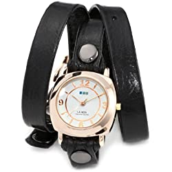 La Mer Collections Damen LMODY004 Black Rose Gold Odyssey Wrap Armbanduhr
