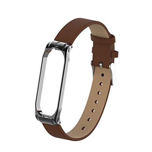 XJWW Per Xiaomi Mi Band 3 4 Fitness Tracker Cinturino in pelle colorato Mi Band 4 3 Cinturino in oro nero Braccialetto moda Braccialetto Marrone per banda 4