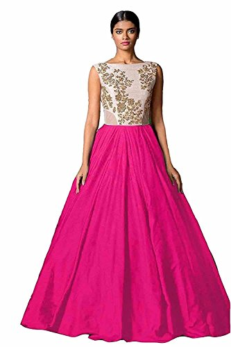 Jashvi Creation Women's Bhagalpuri Silk White Semi - Stitched floor length Gown  available at amazon for Rs.199