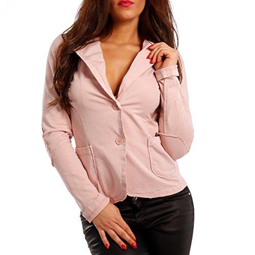Made Italy - Veste de tailleur - Blouson - Uni - Manches Longues - Femme Rose
