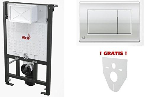 WC Vorwandelement für Trockenbau 100 cm inklusive Betätigungsplatte Chrom Glänzend Typ Quadro Unterputzspülkasten Spülkasten Wand WC hängend Schallschutz