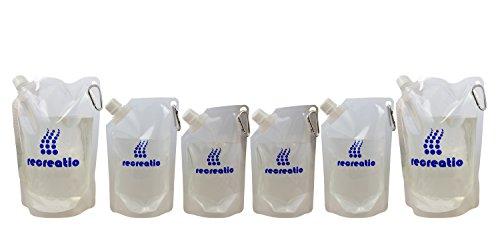 Trinkbeutel Set (2x350ML, 2x500ML, 2x1L) | Karabiner | Auslaufsicher & Wiederbefüllbar | BPA Frei | Trinkflasche / Wasserflasche Set | Vielseitig einsetzbar