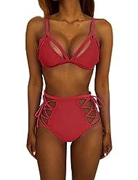 bikinis mujer, traje de baño floral AIMEE7 bikinis halter Sujetador push-up de las mujeres Bikini Set traje de baño traje de baño Ropa de playa (XL, Amarillo)