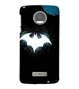 For Moto Z Play :: Motorola Moto Z Play white bat, bat, blue black wallpaper Designer Printed High Quality Smooth Matte Protective Mobile Case Back Pouch Cover by APEX