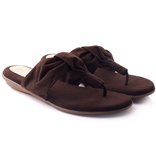 Unze Womens 'Spence' casuale Thong pantofole Marrone