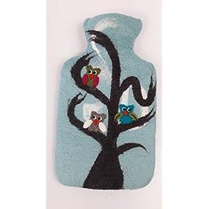 feelz – Wärmflasche Eule hellblau Filz Filzbezug Wolle (Merinowolle) Wärmflaschenbezug Handarbeit – Fairtrade