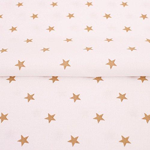 ff Meterware, Sterne Muster, Gold auf Weiß ()