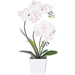 homeseasons LED-beleuchteten Künstliche Blumen arrangement-battery betrieben Orchidee Topf mit 9Lichter